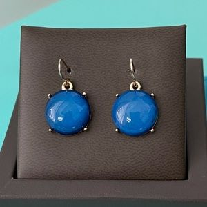 BAUBLE BAR Royal Blue & Gold Round Drop Earrings